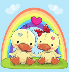 Valentine card with lovers ducks vector
