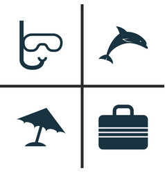 Sun icons set collection of tube mammal baggage vector