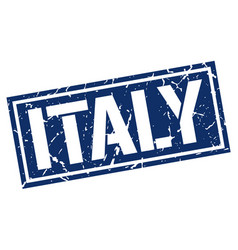 Italy blue square stamp vector