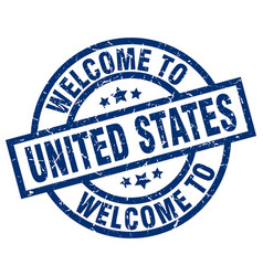 Welcome to united states blue stamp vector