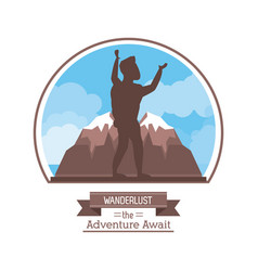 poster color silhouette of wanderlust the vector image