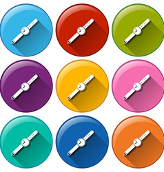 Rounded buttons with watches vector