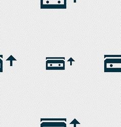 Audio cassette icon sign seamless pattern with vector