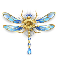 Mechanical dragonfly on a white background vector