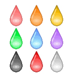 Pixel colorful drops icons set vector