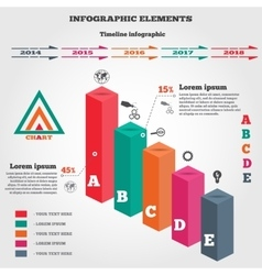 Infographics set rectangle columns prismatic vector