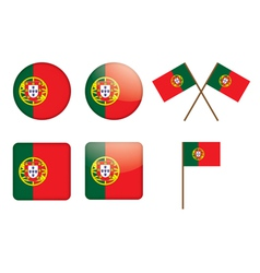 Badges with flag of portugal vector