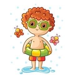 Cute little boy on the sea vector image