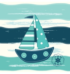 Background with cute ship vector