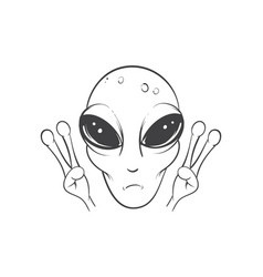 alien is showing a sign of peace vector image