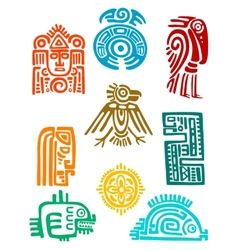 Ancient maya elements and symbols vector
