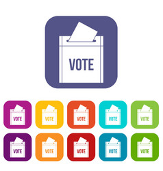 Ballot box icons set flat vector