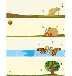 Banner Set Animals Horizontal vector image vector image