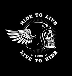 biker skull in helmet with wing on dark background vector image