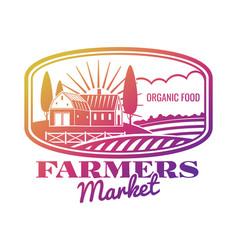 bright farmer market label or emblem vector image