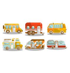 camping bus or camper van vector image vector image