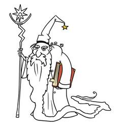 Cartoon medieval fantasy wizard sorcerer or royal vector
