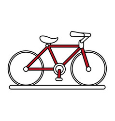 Color silhouette image cartoon red sport bicycle vector