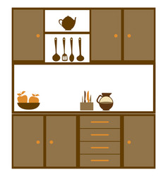 Color silhouette of kitchen cabinets with utensils vector