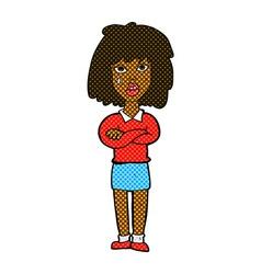 Comic cartoon tough woman with folded arms vector