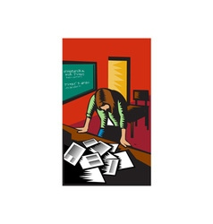 Depressed female school teacher classroom woodcut vector
