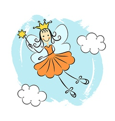 Fairy princess with magic wand vector image vector image