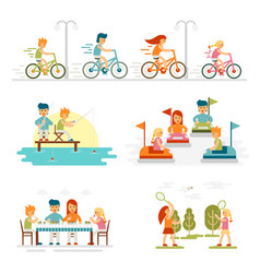family cartoon set with celebrations holidays and vector image vector image