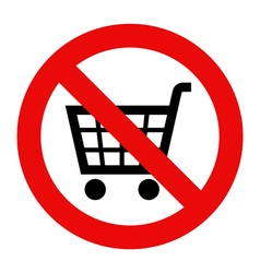 Forbidden sign with cart icon vector