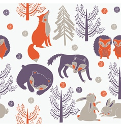 foxs and trees vector image vector image