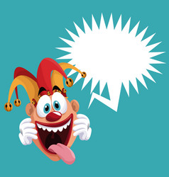 funny jester bubble speech vector image