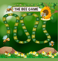 Game template with bees flying in garden vector