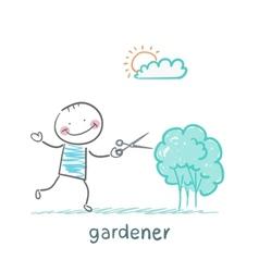 Gardener cuts a bush vector