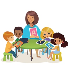 Group of happy children and tiitor with tablets vector