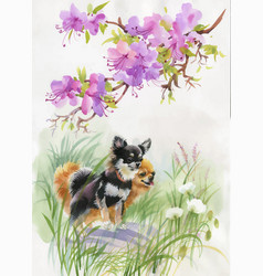 Hand drawn dogs on the nature watercolor vector