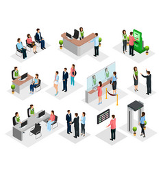 isometric people in bank collection vector image
