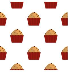 Muffin with raisins pattern seamless vector