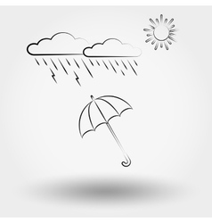 Rainy weather with clouds and umbrella vector