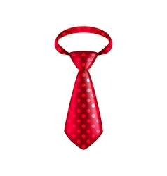 Red dotted tie isolated on white vector image
