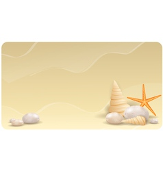 Sand banner with pebble stones vector image vector image
