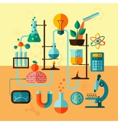 Scientific research laboratory template poster vector