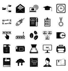 scribe icons set simple style vector image vector image