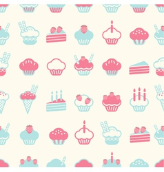 Seamless cake pattern soft vintage color style vector