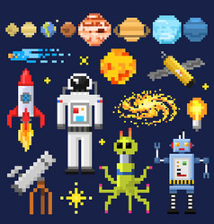 set of space stars alien spaceman robot rocket vector image