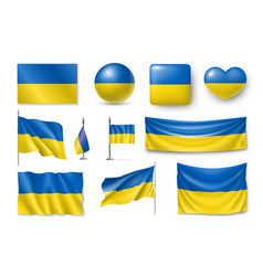 set ukraine flags banners banners symbols flat vector image vector image