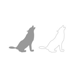 Silhouette of the wolf grey set icon vector