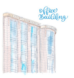 sketch of modern office building doodle style vector image vector image
