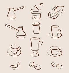 Sketch set coffee design elements - vector image vector image