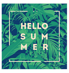 Summer hawaiian tropical poster with palm leaves vector