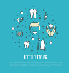 Teeth cleaning concept in thin line style vector
