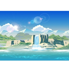 waterfall and highlands vector image